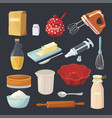 baking pastry tools and kitchen cooking equipment vector image