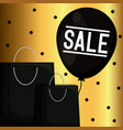 black friday label with bags shopping and balloon vector image