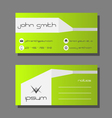 Business card template - green and white design vector image vector image