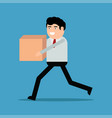businessman running with box vector image vector image