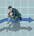 businessman sawing curve graph self-destruction vector image vector image