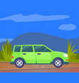 car riding on nature mountains and natural area vector image