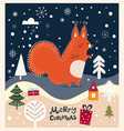 christmas card with squirrel vector image
