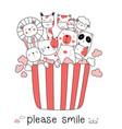 cute baanimal with cartoon hand drawn style vector image vector image