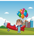 cute kids flying cartoons vector image