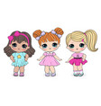 cute little girls cartoon vector image