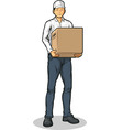 Delivery Man Bringing Carton Box