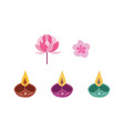 diwali candle and flowers set - traditional indian vector image