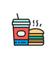 fast food american food burger and soda flat vector image