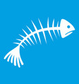 fish bones icon white vector image vector image