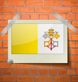 Flags Vatican CityHoly See scotch taped to a red vector image