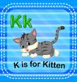 flashcard letter k is for kitten vector image