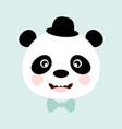 funny panda with hat vector image