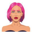 girl with short pink hair on white background vector image vector image