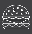 hamburger line icon food and drink fast food vector image vector image