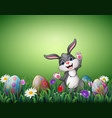 happy easter bunny with decorated easter eggs in a vector image vector image