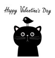 happy valentines day black cat face head vector image vector image