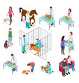 isometric veterinary animals shelter people pet vector image vector image