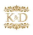 k and d vintage initials logo symbol letters vector image vector image