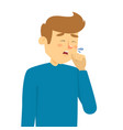 man coughing and holding fist at mouth vector image vector image