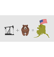 Oil rig and bear Symbols of Alaska American flag vector image vector image