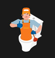 plumber and toilet cleaning and maintenance of vector image vector image