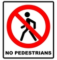 Prohibition No Pedestrain Sign vector image vector image