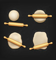 realistic dough and rolling pin bread kneading vector image