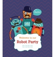 Robot Party Invitation Card Design vector image
