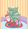 santa claus with pine tree in the house vector image vector image