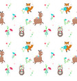 seamless pattern with cute spring animals vector image vector image
