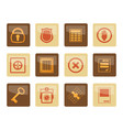 security and business icons over brown background vector image