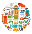 set hike and camp equipment in flat vector image vector image