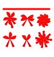 Set of 6 Red Bows and Ribbons vector image