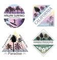 Set of Exotic Nature Landscapes with Palms vector image vector image