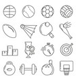 set of icons in line style sports ball vector image vector image