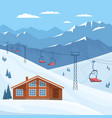 ski resort with chair lift house chalet winter vector image vector image