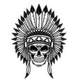 skull in native american indians headdress design vector image