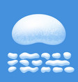 snow caps set isolated on blue background vector image vector image