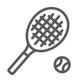 tennis line icon game and sport racket sign vector image vector image