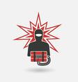 terrorist with bomb vector image