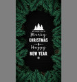 vertical christmas tree branches frame vector image vector image