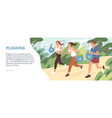 web banner about plogging with people jogging vector image vector image