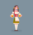 woman hold beer mug wearing traditional german vector image vector image