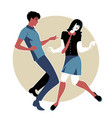 young couple wearing retro clothes 60s dancing vector image vector image