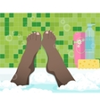 Female feet in bathroom vector image