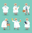character of old scientist or chemist mascot vector image