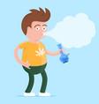 man with bong in the hand smoking marijuana vector image