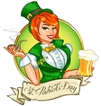 Pretty Pin Up Girl with beer mug and smoking pipe vector image