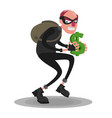 a picture of a balding thief in a mask that sneaks vector image vector image